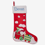 Personalised Luxe Stocking - Santa On Train