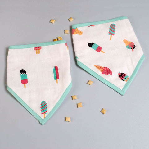 Scoops & Smiles Bandana Bibs, Set of 2