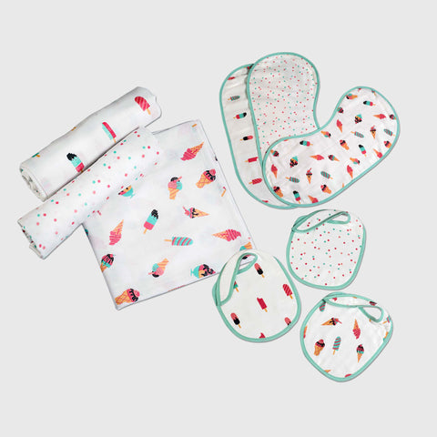 """New Beginnings"" Gift Set - Scoops & Smiles, Set of Swaddles, Bibs & Burp Cloths"