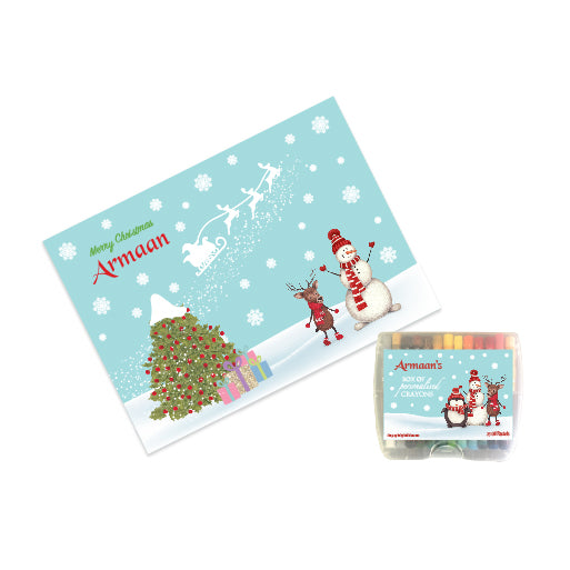 Personalised Sketch Book & Crayon Set - Blue Christmas