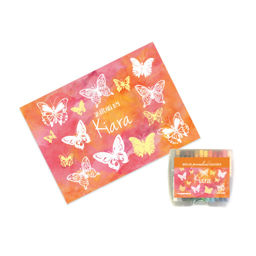 Personalised Sketch Book & Crayon Set - Butterfly