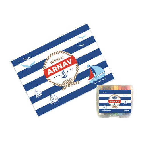Personalised Sketch Book & Crayon Set - Nautical