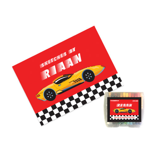 Personalised Sketch Book & Crayon Set - Racing Car
