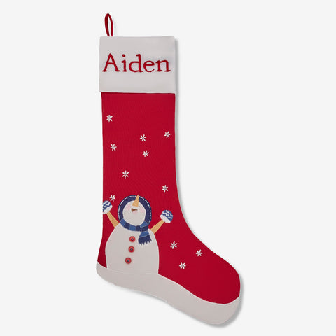 Personalised Stocking - Snowman Linen