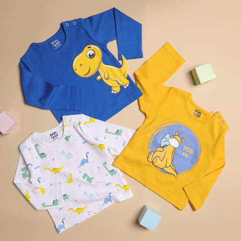 Kicks & Crawl- Snuggly Dino Long Sleeves T-shirt - Pack of 3 (NB, 0-24)