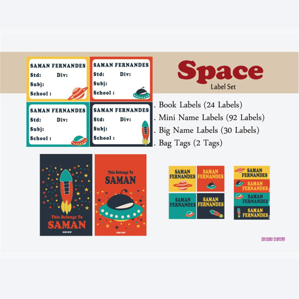 Label Set - Space, 146 labels and 2 bag tags