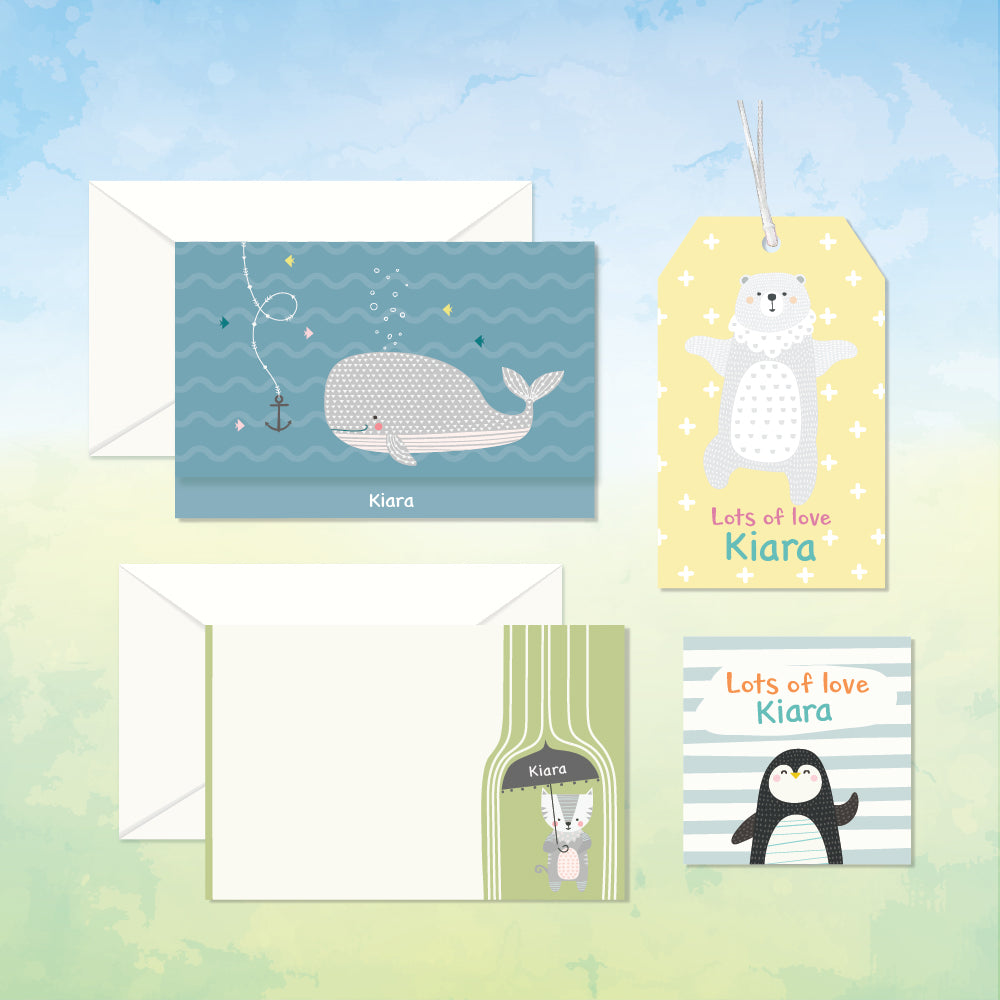 Personalized Stationery Gift Set - Nordic Animal, Set of 24 or 48
