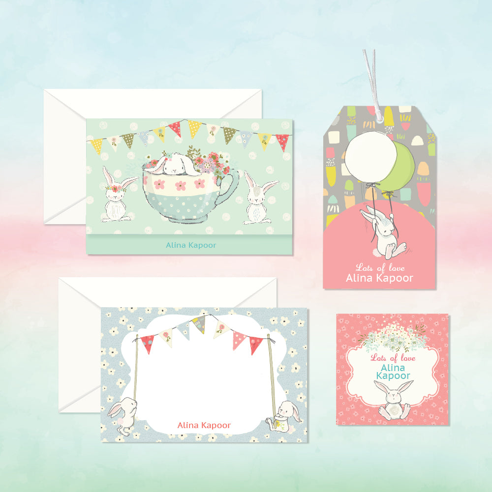 Personalized Stationery Gift Set - Bunny, Set of 24 or 48