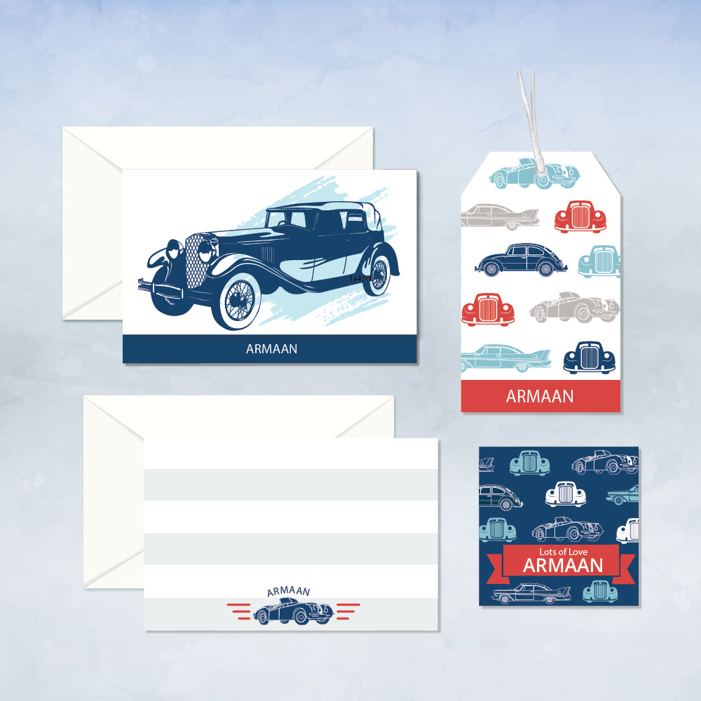 Personalized Stationery Gift Set - Cars, Set of 24 or 48