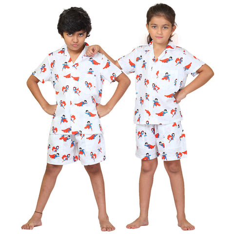 Kid's Pyjama Shirt & Shorts Set - Superhero