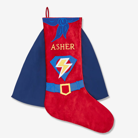 Personalised Luxe Stocking - Superhero (Red Collection)