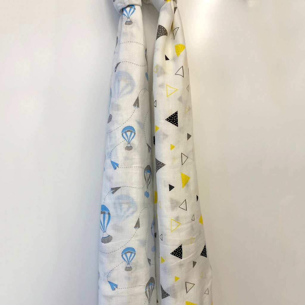 Little By Little Baby Organic Muslin Swaddle, Blue & Yellow (Set of 2)