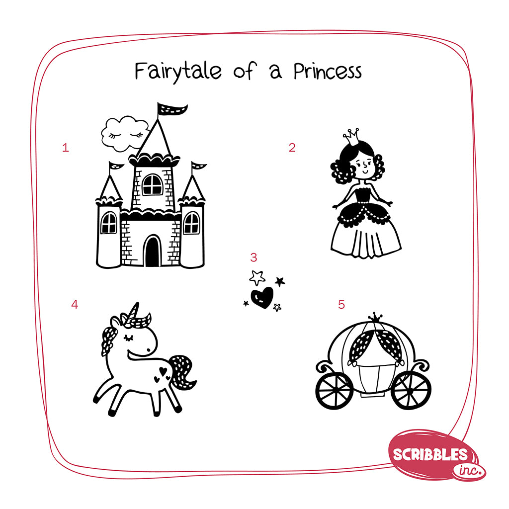 Wooden Stamp-A-Scene - Fairytale of a Princess (Red & Purple Stamp Pad)
