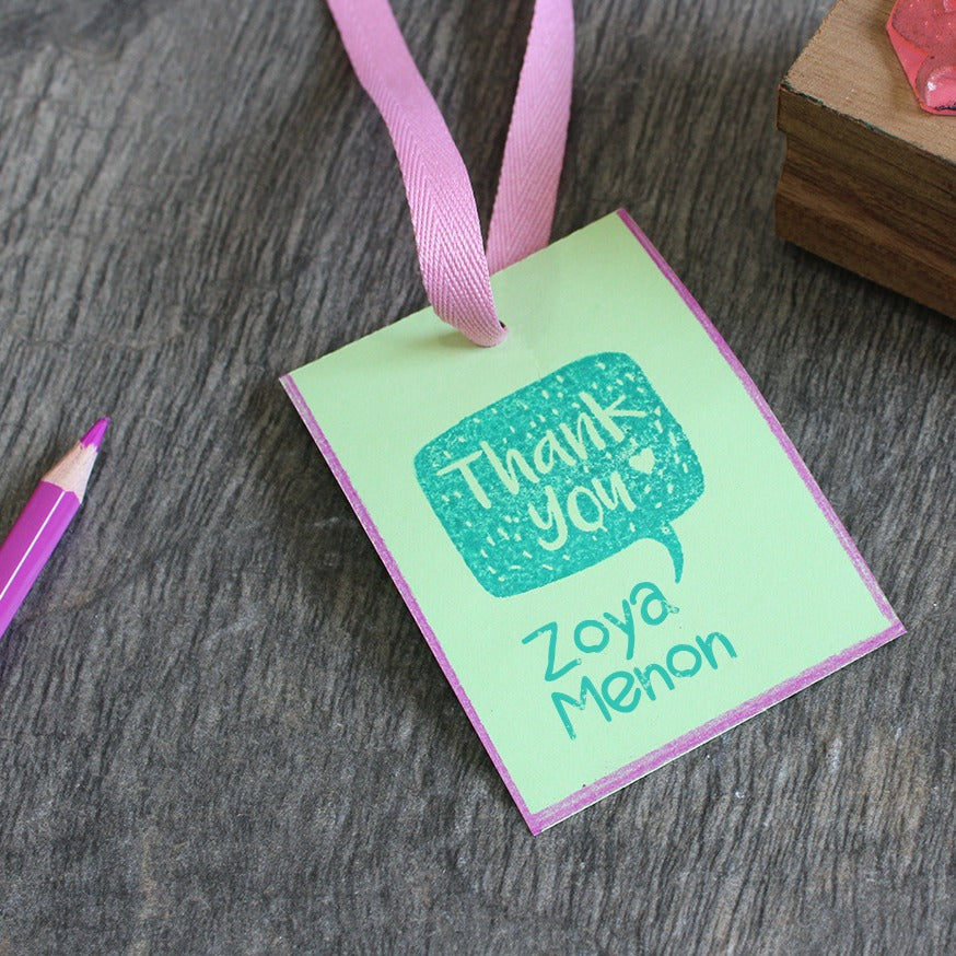 Personalised Wooden Text Stamp With Stamp Pad - Thank You