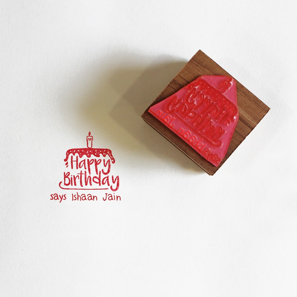 Personalised Wooden Text Stamp With Stamp Pad - Happy Birthday 2