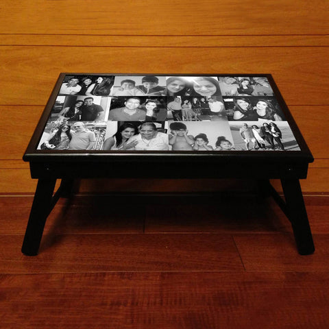 Personalised Bed table, with 12 Photos, B&W