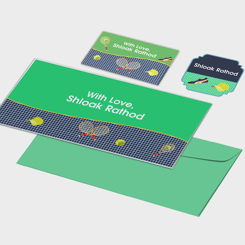 Personalised Gift Envelopes, Cards & Stickers Combo - Tennis, Set of 130