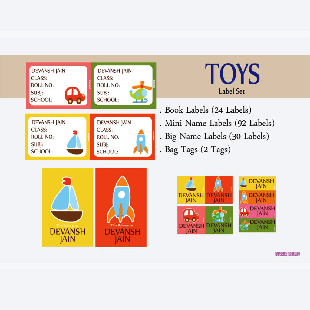Label Set - Toy, 146 labels and 2 bag tags