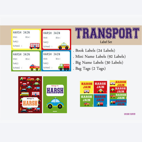 "Label Set<br/>Transport Theme<br><span style=""font-size: 11px; font-family:Helvetica,Arial,sans-serif;"">Assorted pack containing 146 labels and 2 bag tags </span>"