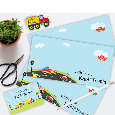 Personalised Gift Envelopes, Cards & Stickers Combo - Transport, Set of 130