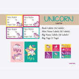 Label Set - Unicorn, 146 labels and 2 bag tags