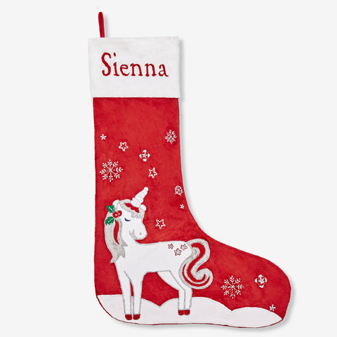 Personalised Luxe Stocking - Magical Unicorn (Red Collection)
