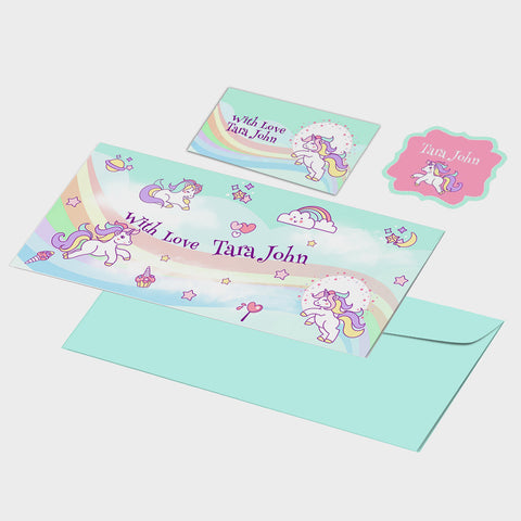 Personalised Gift Envelopes, Cards & Stickers Combo - Unicorn, Set of 130