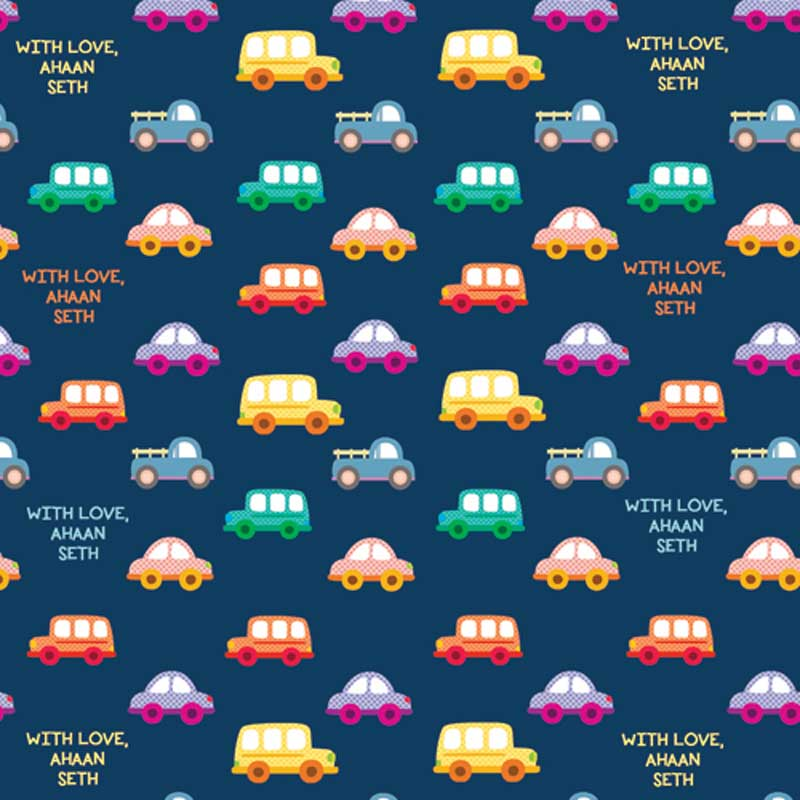"Personalised Wrapping Paper 14 x 22""  - Transport, Set of 50"