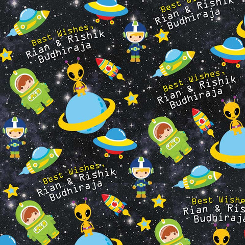 "Personalised Wrapping Paper 14 x 22""  - Space, Set of 50"