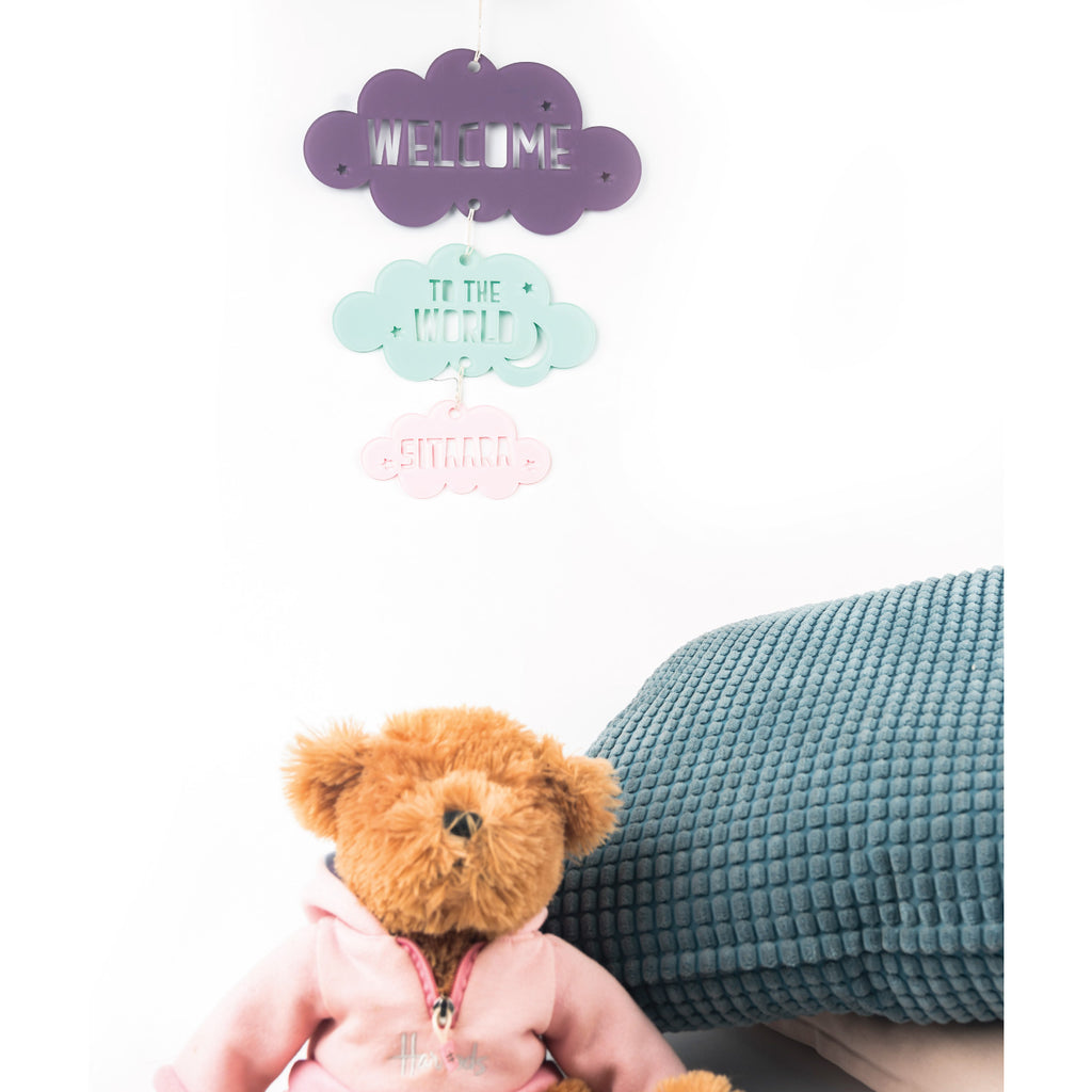 Welcome Baby Personalised Cloud Mobile