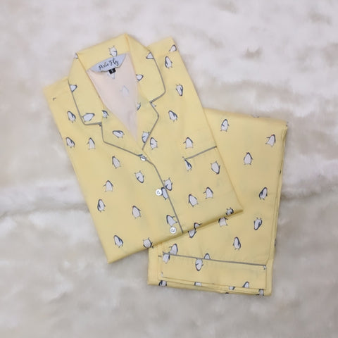 Adult Pyjama Set - Yellow Penguins, For Women