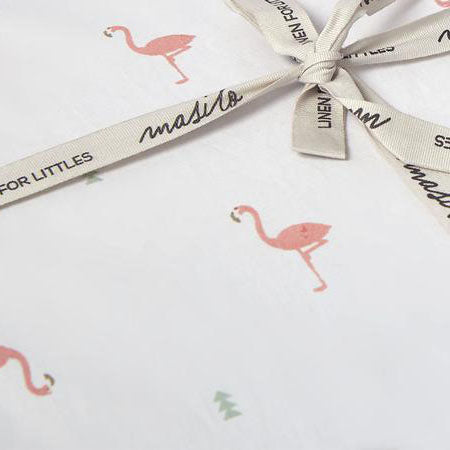 Masilo Organic Fitted Cot Sheet - Hello Flamingo