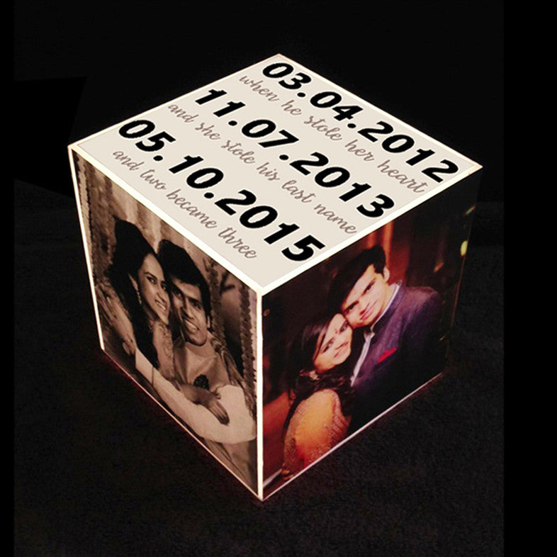 Personalised Cube Lamp, with Dates & Photos