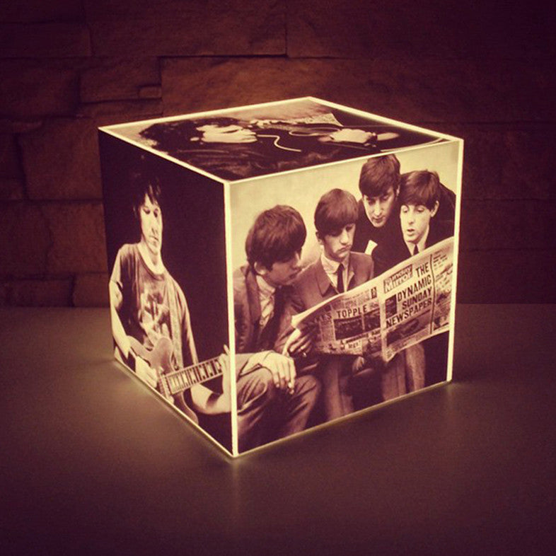 Personalised Cube Lamp, with Photos, B&W