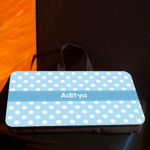 Lap pad <br> Personalised, Blue polka dots