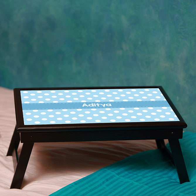 Personalised Bed table - Blue Polka Dots