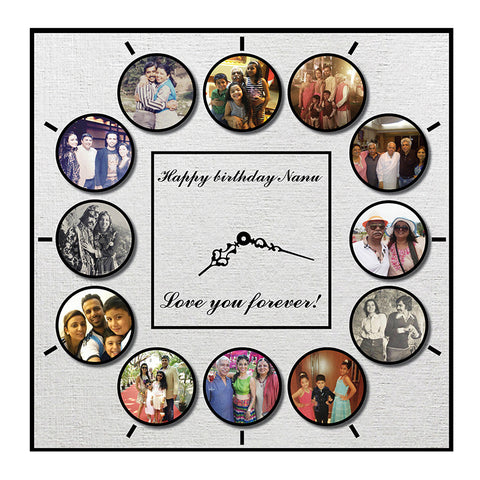 Personalised Clock with Photos <br> 12 photos
