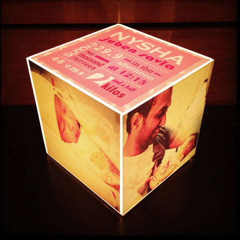 Personalised Cube Lamp, with Birth Statistics & Photos