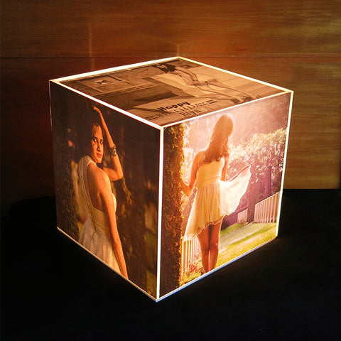 Personalised Cube Lamp, with Photos, Colour