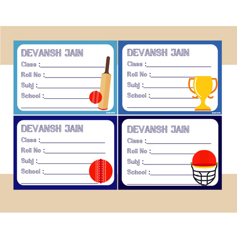 Personalised School Book Labels - Cricket, Pack of 36