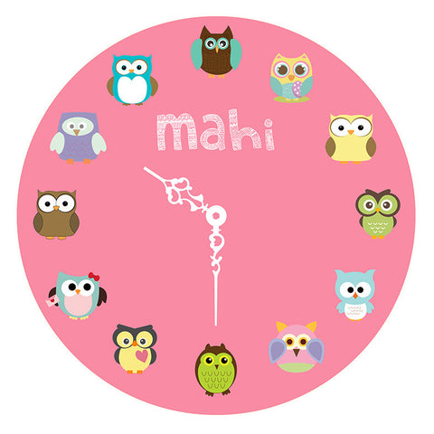 Personalised Clock - Owl, Pink