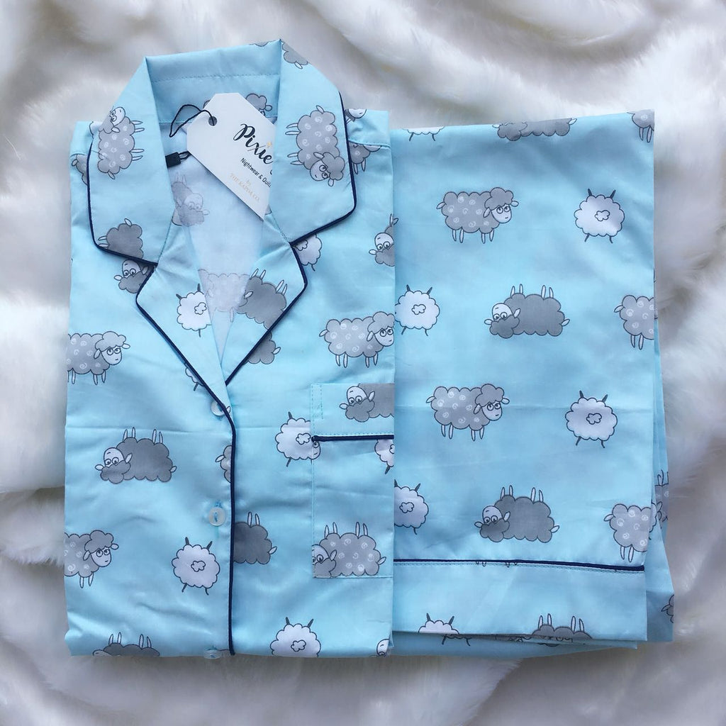 Kid's Pyjama Set - Blue Sheep