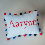 Personalised Pom Pom Pillow - Boy