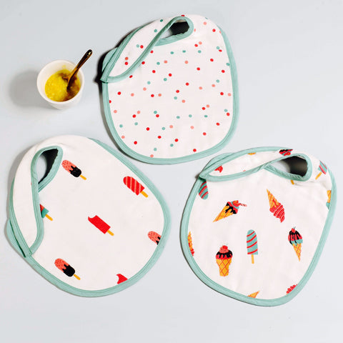 Scoops & Smiles Muslin Bibs, Set of 3