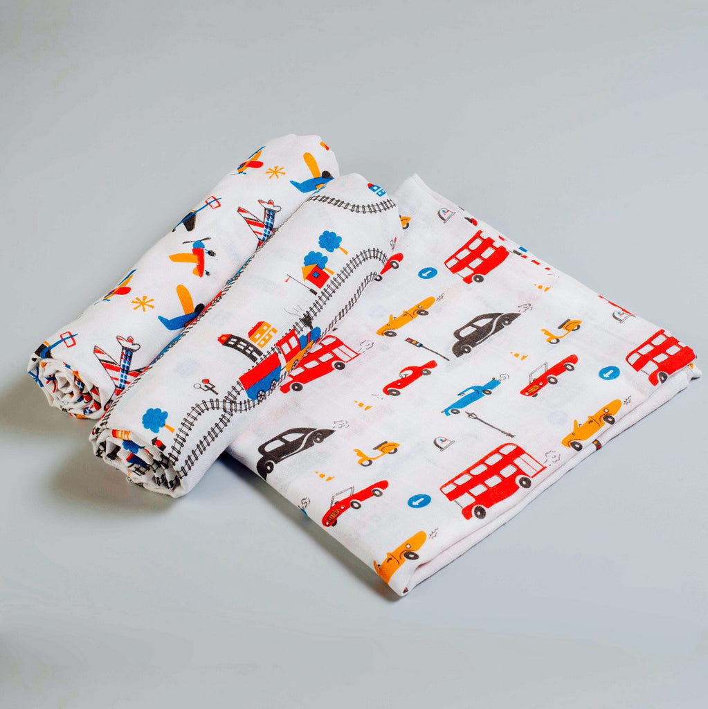 Off-We-Go! Muslin Swaddle Cloths, Set of 3