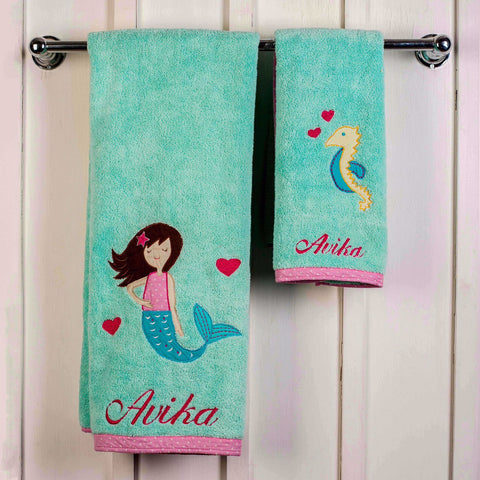"Kids Towel Set - Magical Mermaid  <br> Bath & Hand Towel Available <br> <span style=""font-size: 11px; font-family:Helvetica,Arial,sans-serif;"">Can Be Personalised</span>"