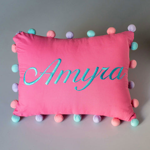 Personalised Pom Pom Pillow - Girl