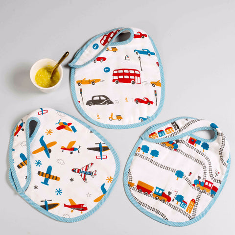 Off-We-Go! Muslin Bibs, Set of 3