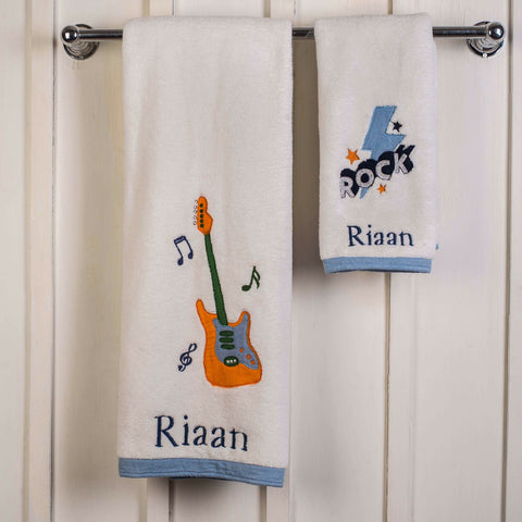 "Kids Towel Set - Rockstar <br> Bath & Hand Towel Available <br> <span style=""font-size: 11px; font-family:Helvetica,Arial,sans-serif;"">Can Be Personalised</span>"