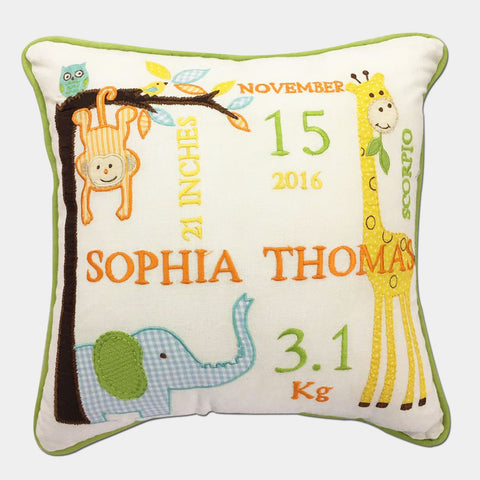 'Welcome Baby' Personalised Pillow - Jungle Fun